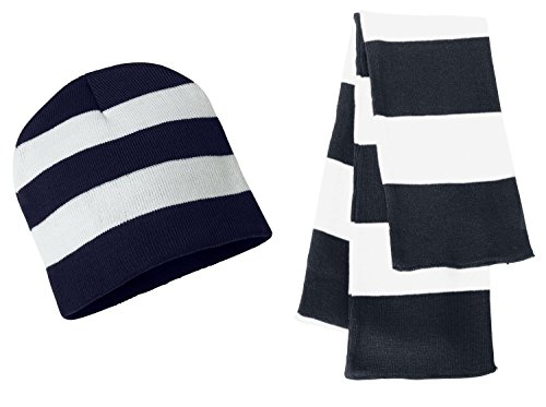 (Sportsman Knit Collegiate Rugby Stripe Winter Scarf & Beanie Hat Set - Assorted Colors, Navy/White)