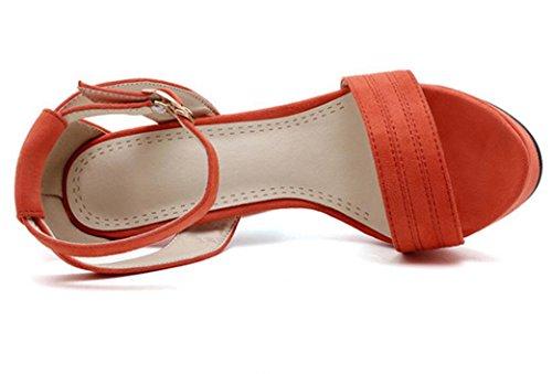 Palabra Compras 38 La Puta Impermeabiliza De Sandalias Xie Alto 36 Del Los Las Pink Tres Verano Orange Pu Colores Y Thick Partido Rocío Talón Señoras Hebilla Tabla 12cm K4Cv4Hqw