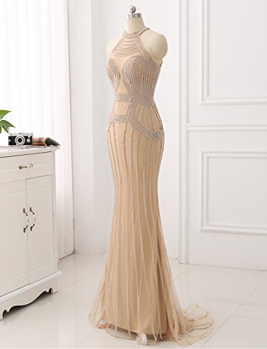 Fashion Perlen Party Halter Kleid Luxuty Abend Elegante Erosebridal Abendkleider Meerjungfrau CqSwP