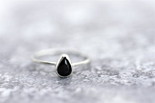 - Unique Women's Stackable Ring, Sterling Silver Teardrop Gemstone Thin Ring, Solitaire Style, Size US 2.5-11, Handmade Designer Jewelry