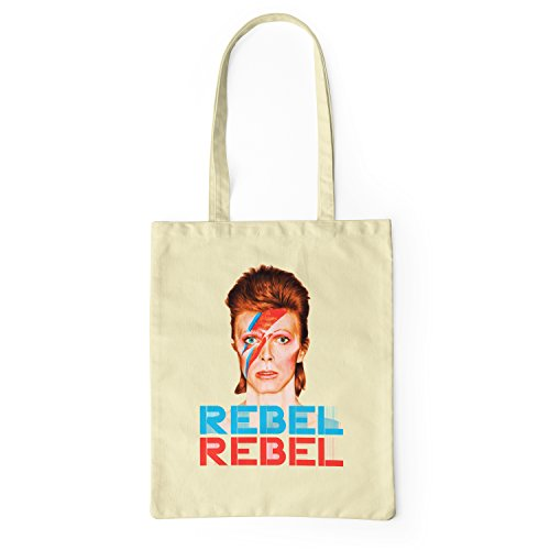 "Bolsa de tela ""David Bowie Rebel Rebel"" - tote bag shopping bag 100% algodón LaMAGLIERIA, Natural"