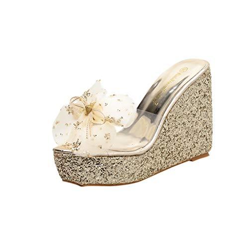 DealinM  Women's Shoes,Women's Elegant Summer Lady Leisure Flower Platform Bling Sandals Wedge Beach Slippers Gold