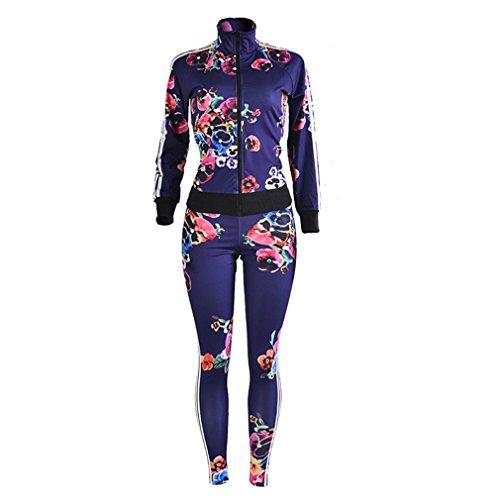 Meolin Women Zipper Sport 2 Piece Jumpsuit Sportswear Hoody Pants Set Tracksuit,As - Ladies Suit Photo