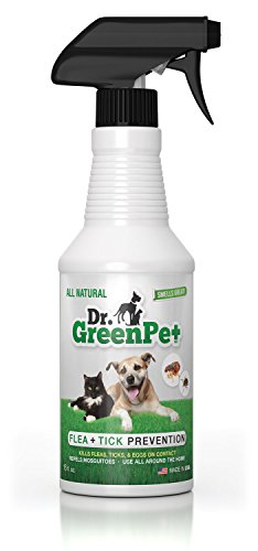Dr. GreenPet All Natural Flea and Tick Prevention and Control Spray for Dogs and Cats - 16oz - Smells Great!
