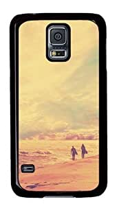Hu Xiao Rugged Samsung Galaxy S5 case cover and Cover - Surfers Walking On The Beach At Sunset Custom Design PC case cover for G5t9aiqUAJt Samsung Galaxy S5 - Black