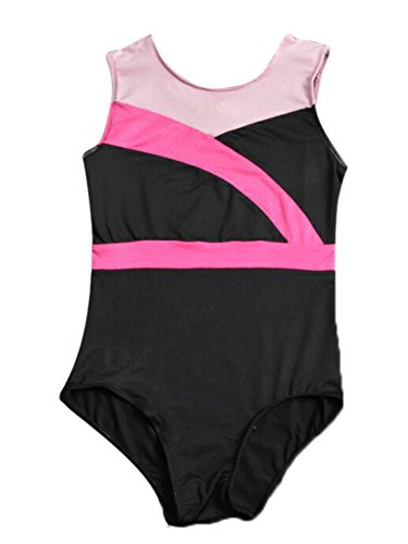 [Liitle Girls One-piece Roud Neck Leotards Bodysuit for Gymnastics Ballet Dance Tango Cha Cha Costumes 5-6 Years] (Chacha Dance Costume)