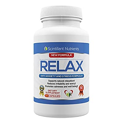 RELAX by Scintillant Nutrients 60 Capsules Natural Nootropics Supplement for Anxiety and Stress Relief