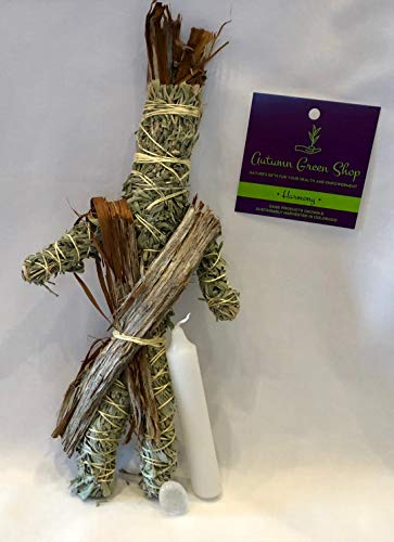 Sage Smudge Doll Kit- Sage, Crystal, White Candle for Good Luck, Joy, Happiness, Enlightenment, Healing, Purification & Protection