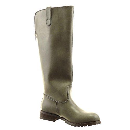Sopily - damen Mode Schuhe Stiefel Reitstiefel - Kavalier Reißverschluss golden - Grau