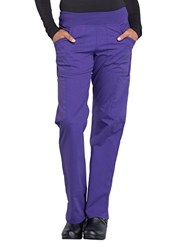 (Cherokee WW Professionals WW170 Mid Rise Straight Leg Pull-On Pant Grape M Petite)