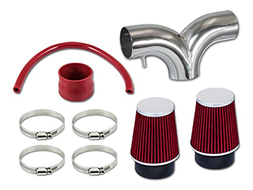 R/&L Racing Red Short Ram Dual Twin Air Intake Kit Filter 05-10 Jeep Grand Cherokee Grand Cherokee Commander 5.7L V8