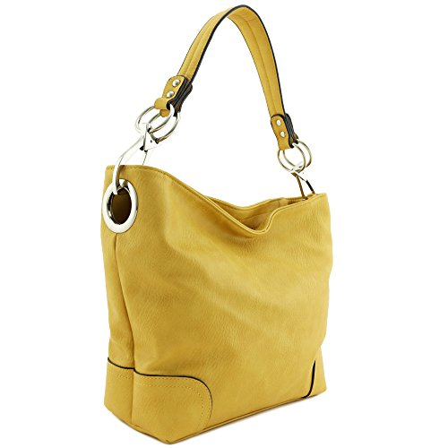 (Hobo Shoulder Bag with Big Snap Hook Hardware (Yellow))