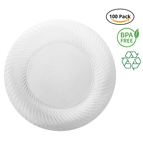 "Party Joy 6"" Swirl Clear Plastic Plates (Pack of 100)"
