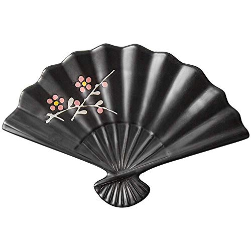 ChenDZ Creative Japanese style and wind tableware underglaze hand-painted speciality restaurant ceramic sushi plate fan-shaped dish dish sashimi plate (Color : Black)