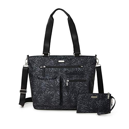 Baggallini The New Classic Collection Any Day Tote With RFID Phone Wristlet (Onyx Floral)