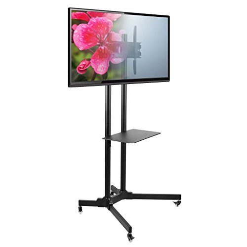 "Seneca AV SM61 Mobile Flat Panel TV Mount – For 30"" to 65'' Monitor Displays – Adjustable Height – Black by Seneca"