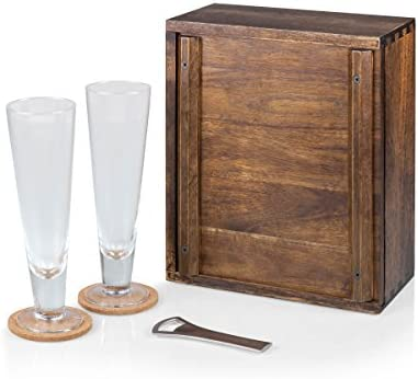 Legacy-A Picnic Time Brand Acacia Wood Pilsner Beer Glass Gift Set for Two