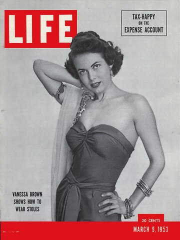 LIFE  Magazine  - March 9, 1953 -- Cover: Vanessa Brown Show How to Wear - Vanessa Wear