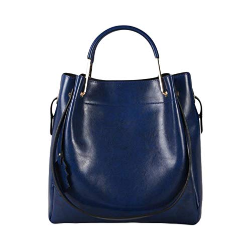 Sac En Cuir De Dames Cire D'huile Cuir Enfant Grand Sac Mode Sac à Main De Mode épaule épaule Paquet Diagonal Blue