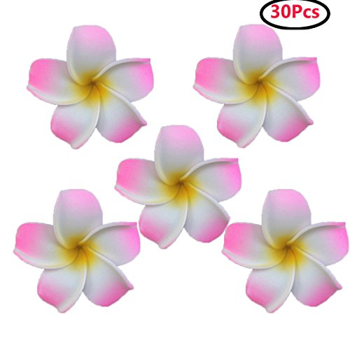 Calcifer 30pcs 1.97''Hawaii Hawaiian Plumeria Flower Clips Bridal Wedding Party Beach Hair Clips (Pink) by Calcifer