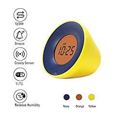 Stylepie Fun Fun Clock-Digital Smart Alarm Clock with Temperature(℃/℉) and Humidity(%) Detections, Gravity Clock with Snooze Function and 12/24H Display, Energy-Saving Light, Bedroom&Office, Yellow