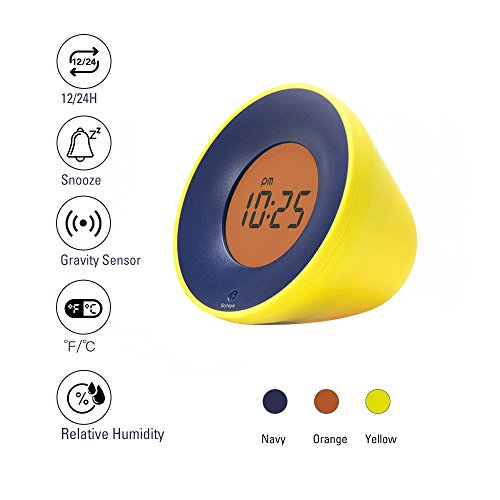 Stylepie Fun Fun Clock-Digital Smart Alarm Clock with Temperature(℃/℉) and Humidity(%) Detections, Gravity Clock with Snooze Function and 12/24H Display, Energy-Saving Light, Bedroom&Office, Yellow (Alarm Clock That Runs Around The Room)