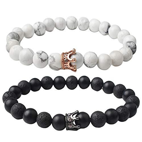 - DFYtr511po Fashion Unisex Artificial Gemstone Bracelet Crown Beaded Couple Jewelry Black + White
