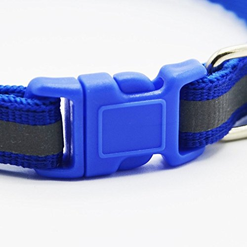 Da.Wa Green Reflective Pet Small Medium Size Dog Cat Adjustable Collar with Bell Gift (Blue)