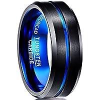 NUNCAD Men's 8mm Tungsten Carbide Ring Blue & Black Matte Finish Beveled Edge Wedding Band Size 5 to 16