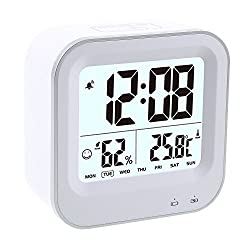Dulcii LCD Digital Alarm Clock, Multifunctional Clock with Large Screen, Temperature, Humidity, Sensor Backlight, Snooze Function, Intelligent Touch Control, Ideal Gift for Kids Bedroom, White