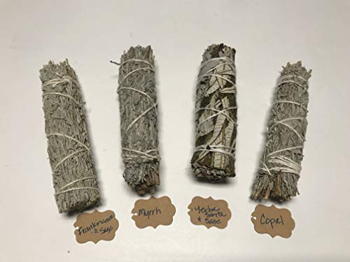 Arianna Willow Mystical Variety Smudge Sticks Including Copal, Frankincense, Myrrh, and Yerba Santa.