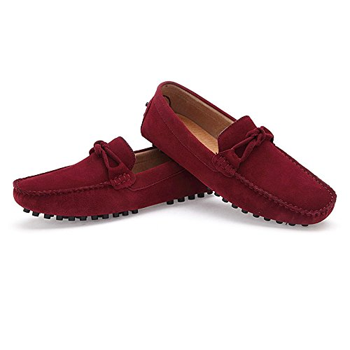 Mocasines Cuero EU Mocasines On 2018 Boat Hombres 40 los Conducción Top Suede Penny Low Genuino Vino tamaño Shoes de Vino Casual Color para Slip Mocasines Hombre O8qaaxSI