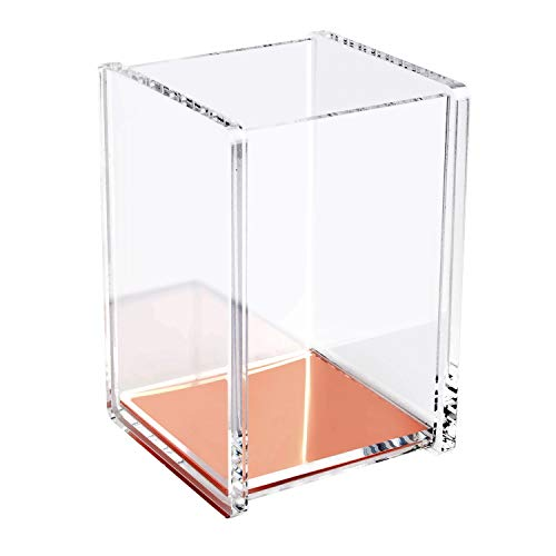 (Zodaca [Deluxe Acrylic Design] Soft Touch Square Pen Pencil Ruler Brush Holder Cup Desktop Stationery Makeup Organizer, Clear/Rose Gold)