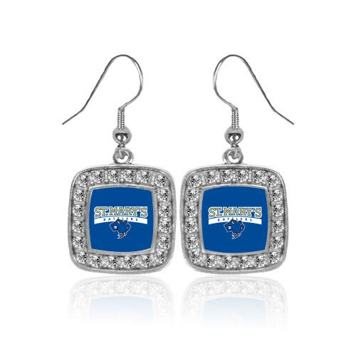 Primary Earrings Logo (CollegeFanGear St Marys Crystal Studded Square Pendant Silver Dangle Earrings 'Primary Logo')