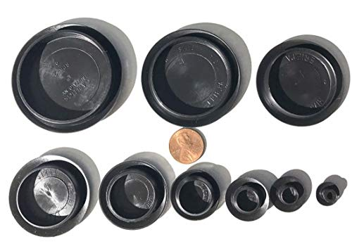 90 Piece Flush Mount Black Hole Plug Assortment for Auto Body and Sheet - Kit Plug Rubber