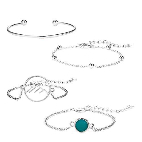 Sanyyanlsy Women 4 Piece Personality Creative Beads Circle Hill Alloy Bracelet Openwork Gem Beading Open Bracelet Gift (Silver)