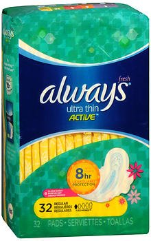 Always Ultra Thin Active Flexi-Wings Pads Regular Clean Scent, 32ct, Pack of 5