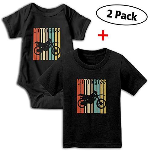 (Cool Vintage Motocross Dirt Bike Silhouette Unisex Toddler Baby 2-Piece Short-Sleeve Bodysuit Baby T-Shirt Set Black)