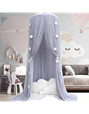 Bed Canopy for girls - Princess Bed Canopy Mosquito Net Nursery Play Room Decor Dome Premium Yarn Netting Curtains Baby Game Dream Castle