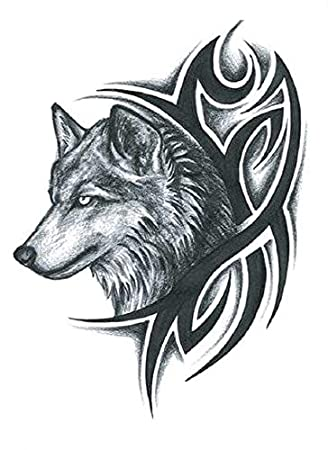 Etiqueta engomada del tatuaje 3d lobo tatuaje impermeable gran ...