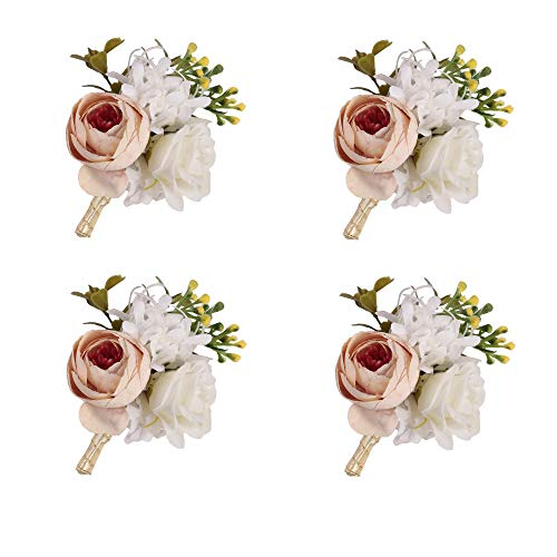 (Furnily Peony Boutonnieres with Pin Set of 4 Silk Groom Flower Boutonniere for Men Wedding Prom Suit Decoration(Champagne))