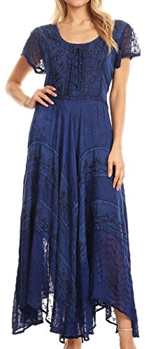(Sakkas 1322 Marigold Embroidered Fairy Dress - Navy -)