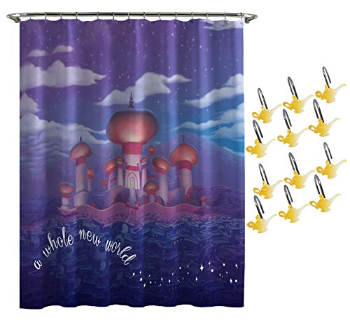 Jay Franco Disney Aladdin Arabian Nights Shower Curtain & 12-Piece Hook Set & Easy Use (Official Disney Product)