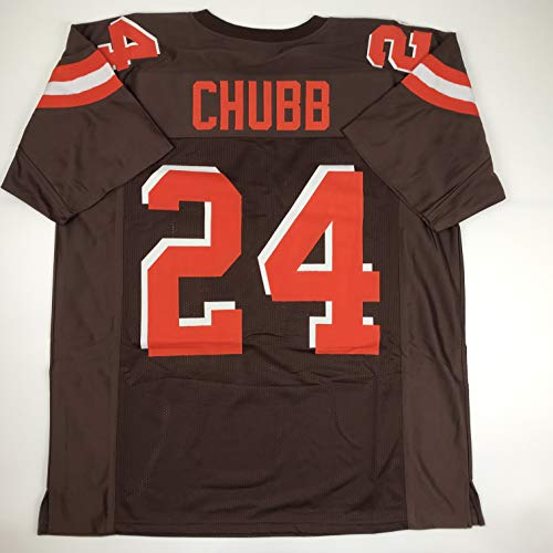 2e43e034ebf Cleveland Browns Signed Football. Unsigned Nick Chubb Cleveland Custom  Stitched Brown Football Jersey ...