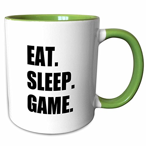 3dRose InspirationzStore Eat Sleep series - Eat Sleep Game - fun gifts for gamers - black text - video pro-gamer - 15oz Two-Tone Green Mug (mug_180406_12)
