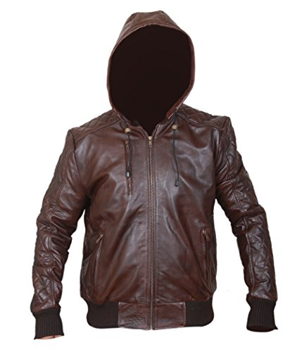 SALTONI Men's Brown Washed Distressed Removable Hood Quilted Bomber Leather Jacket (M)