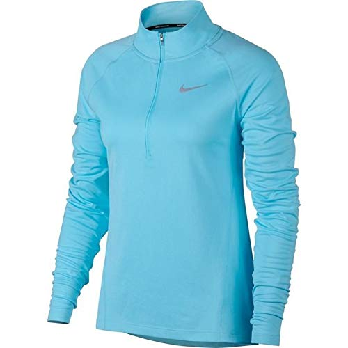 Nike Womens Dry Element 1/2 Zip Pullover Running Top Polarized Blue Size Small (S)