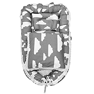 Abreeze Baby Travel Co-Sleeping Baby Crib Portable Crib Portable Baby Bassinet for Bed Baby Cots for 0-24 Month Baby 3pcs, Clouds Grey