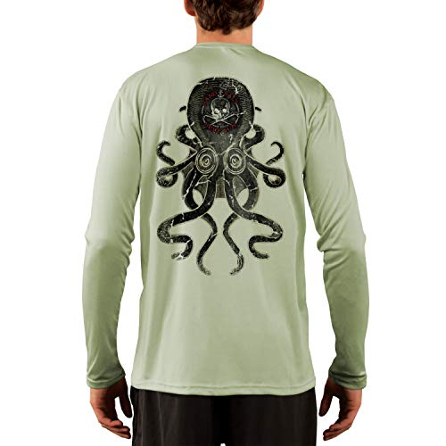 (SAND.SALT.SURF.SUN. Vintage Kraken Men's UPF 50+ Long Sleeve T-Shirt Large Sage)