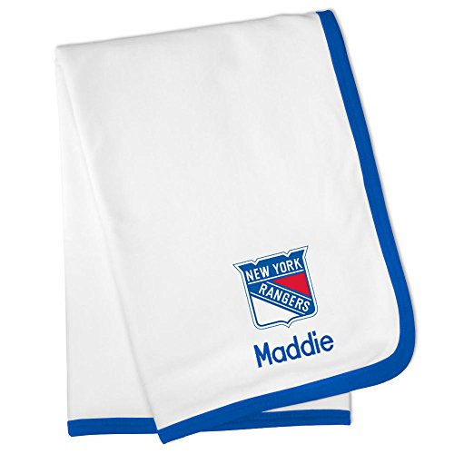 Personalized New York Rangers Baby Blanket (Officially Licensed) Ultra Soft, Warm Comfort | Receiving Swaddle for Newborn Boy or Girl | Portable, Stroller Friendly